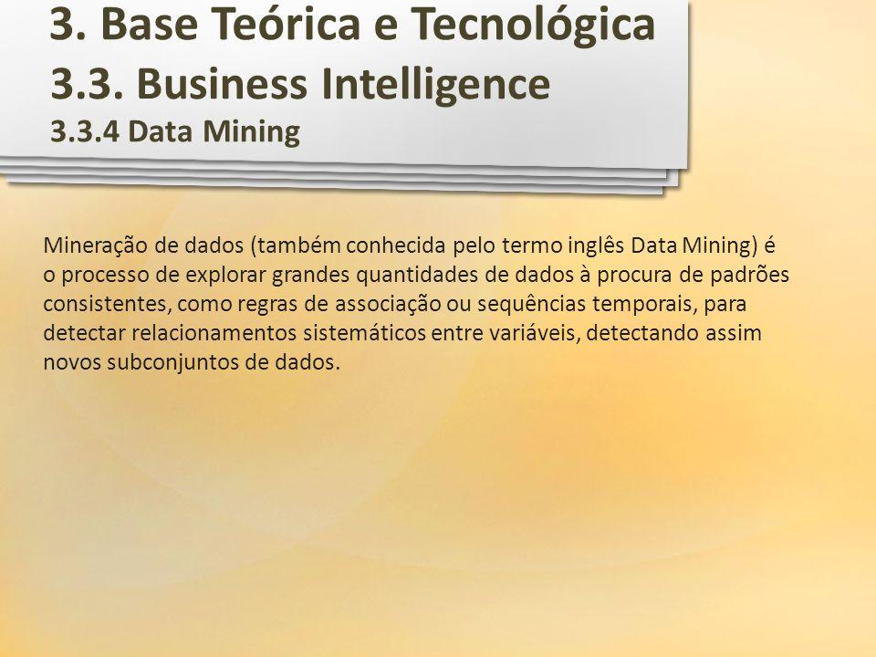 3.3. Business Intelligence 3.3.4 Data Mining Mineração de dados (também conhecida pelo termo inglês Data Mining) é o processo de explorar grandes quan