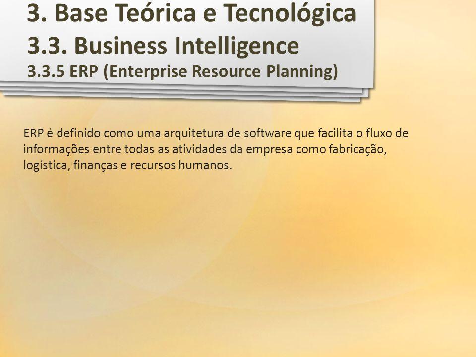 3.3. Business Intelligence 3.3.5 ERP (Enterprise Resource Planning) ERP é definido como uma arquitetura de software que facilita o fluxo de informaçõe