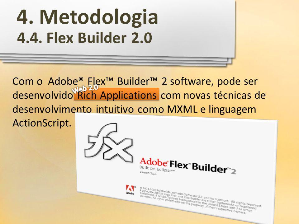 Com o Adobe® Flex Builder 2 software, pode ser desenvolvido Rich Applications com novas técnicas de desenvolvimento intuitivo como MXML e linguagem Ac