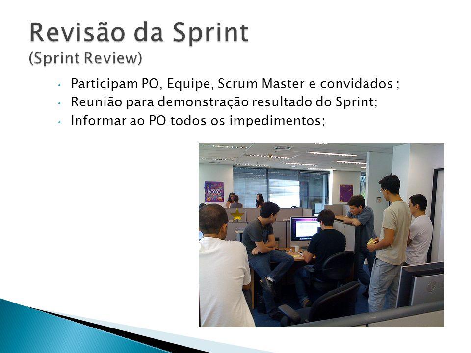 Participam PO, Equipe, Scrum Master e convidados ; Reunião para demonstração resultado do Sprint; Informar ao PO todos os impedimentos;
