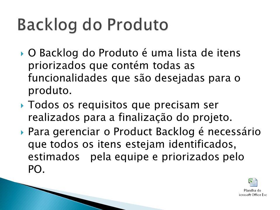 O Backlog do Produto é uma lista de itens priorizados que contém todas as funcionalidades que são desejadas para o produto. Todos os requisitos que pr