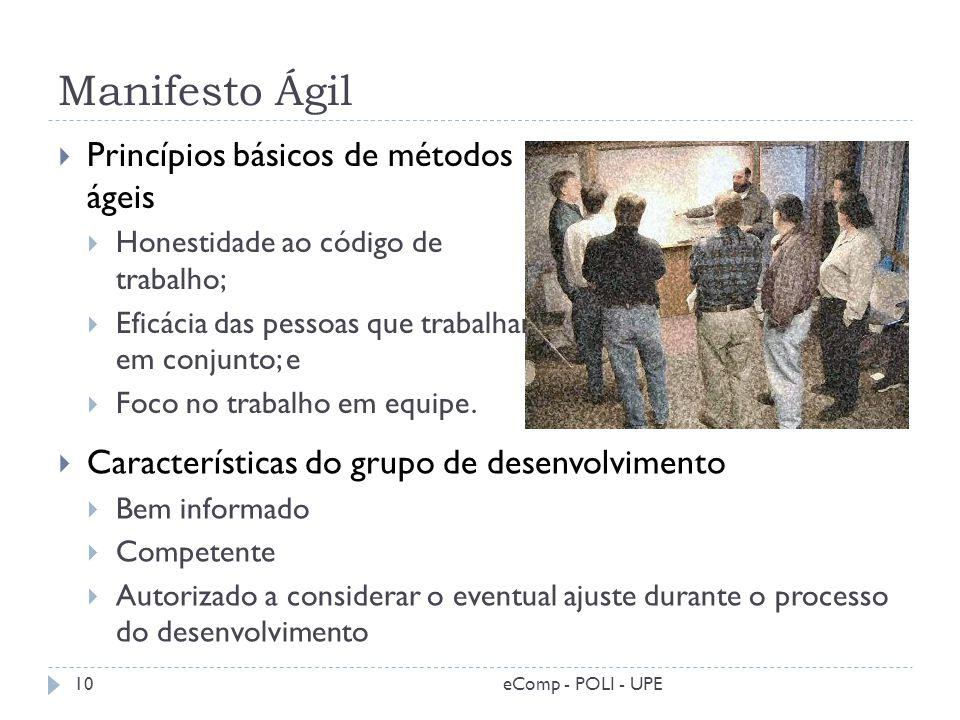 Manifesto Ágil Princípios básicos de métodos ágeis Honestidade ao código de trabalho; Eficácia das pessoas que trabalham em conjunto; e Foco no trabal