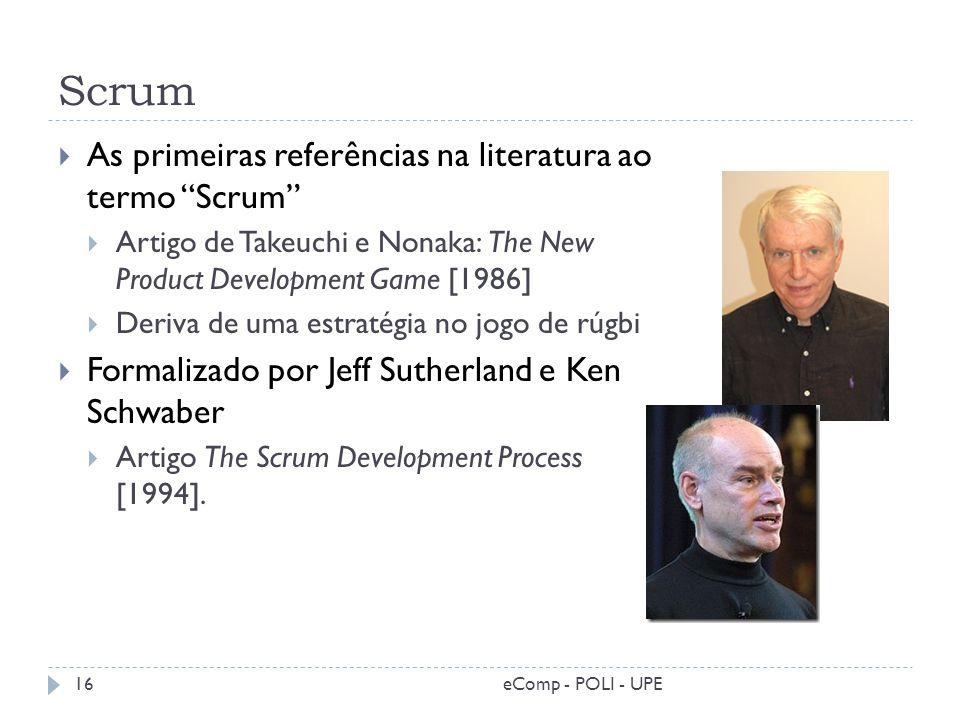 Scrum As primeiras referências na literatura ao termo Scrum Artigo de Takeuchi e Nonaka: The New Product Development Game [1986] Deriva de uma estraté