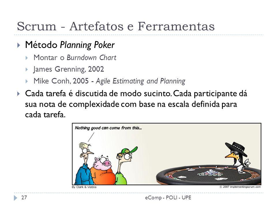 Scrum - Artefatos e Ferramentas Método Planning Poker Montar o Burndown Chart James Grenning, 2002 Mike Conh, 2005 - Agile Estimating and Planning Cad