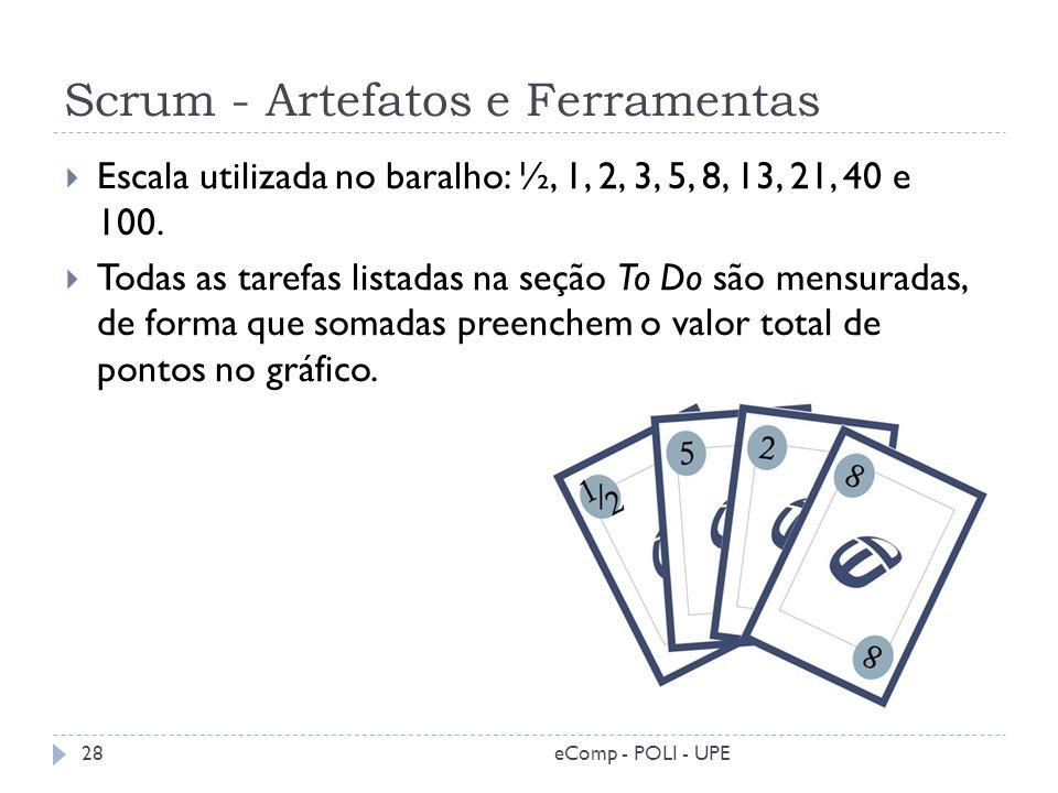 Scrum - Artefatos e Ferramentas eComp - POLI - UPE28 Escala utilizada no baralho: ½, 1, 2, 3, 5, 8, 13, 21, 40 e 100. Todas as tarefas listadas na seç