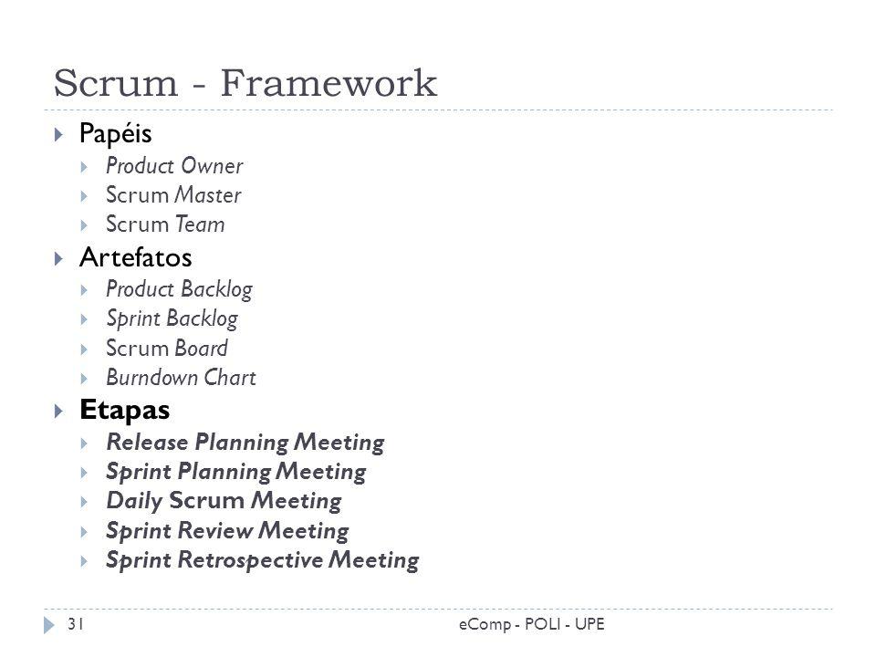 Scrum - Framework eComp - POLI - UPE31 Papéis Product Owner Scrum Master Scrum Team Artefatos Product Backlog Sprint Backlog Scrum Board Burndown Char