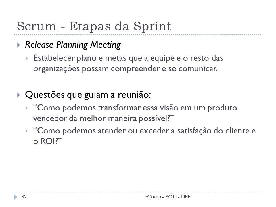 Scrum - Etapas da Sprint Release Planning Meeting Estabelecer plano e metas que a equipe e o resto das organizações possam compreender e se comunicar.