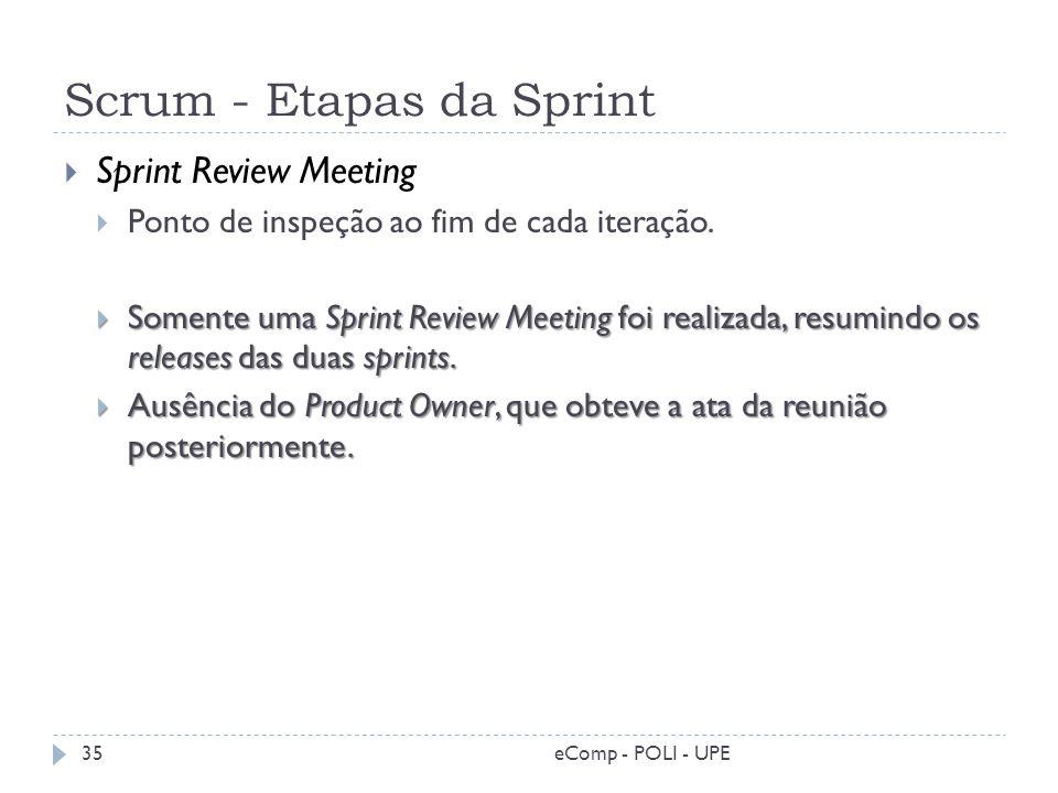 Scrum - Etapas da Sprint Sprint Review Meeting Ponto de inspeção ao fim de cada iteração. Somente uma Sprint Review Meeting foi realizada, resumindo o