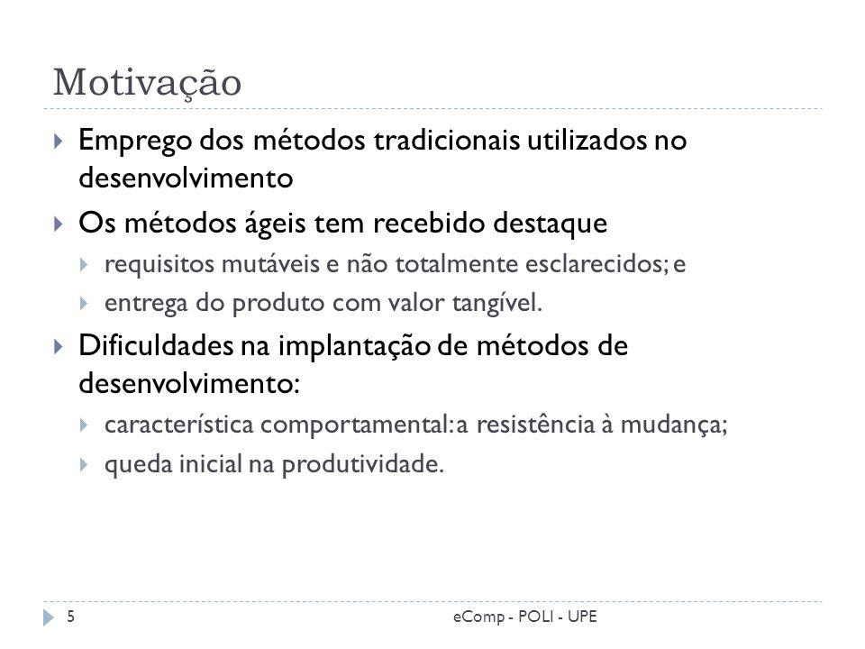 Motivação Emprego dos métodos tradicionais utilizados no desenvolvimento Os métodos ágeis tem recebido destaque requisitos mutáveis e não totalmente e