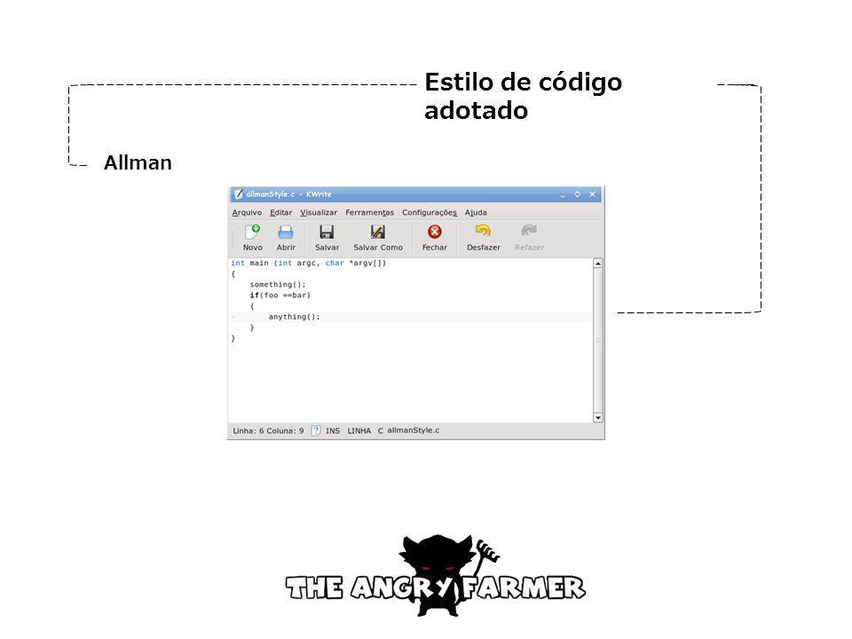 Estilo de código adotado Allman