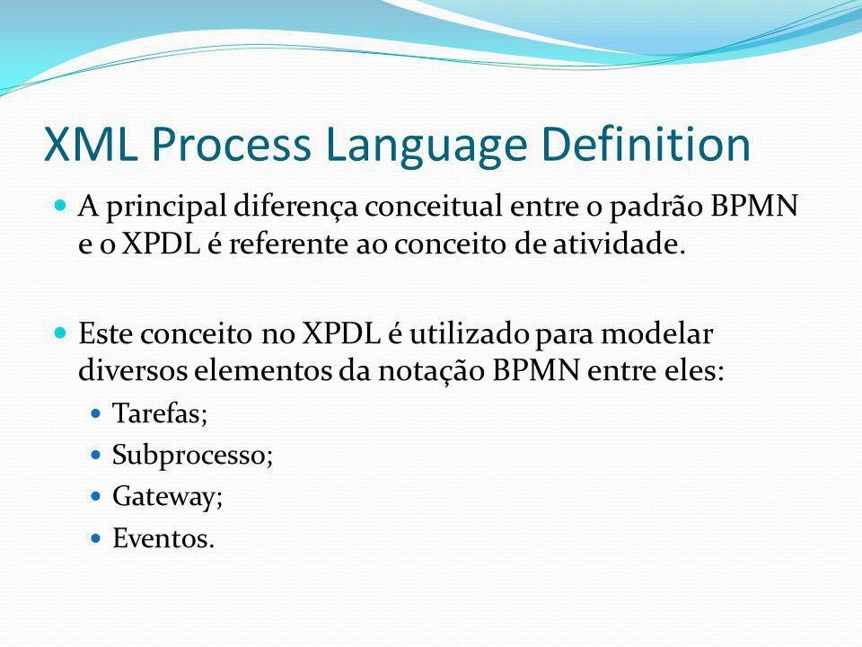 XML Process Language Definition A principal diferença conceitual entre o padrão BPMN e o XPDL é referente ao conceito de atividade. Este conceito no X