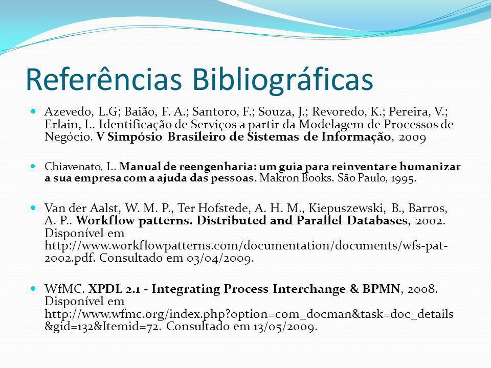 Referências Bibliográficas Azevedo, L.G; Baião, F. A.; Santoro, F.; Souza, J.; Revoredo, K.; Pereira, V.; Erlain, I.. Identificação de Serviços a part