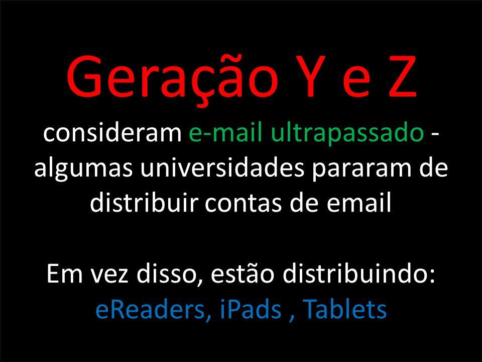 Geração Y e Z consideram e-mail ultrapassado - algumas universidades pararam de distribuir contas de email Em vez disso, estão distribuindo: eReaders,