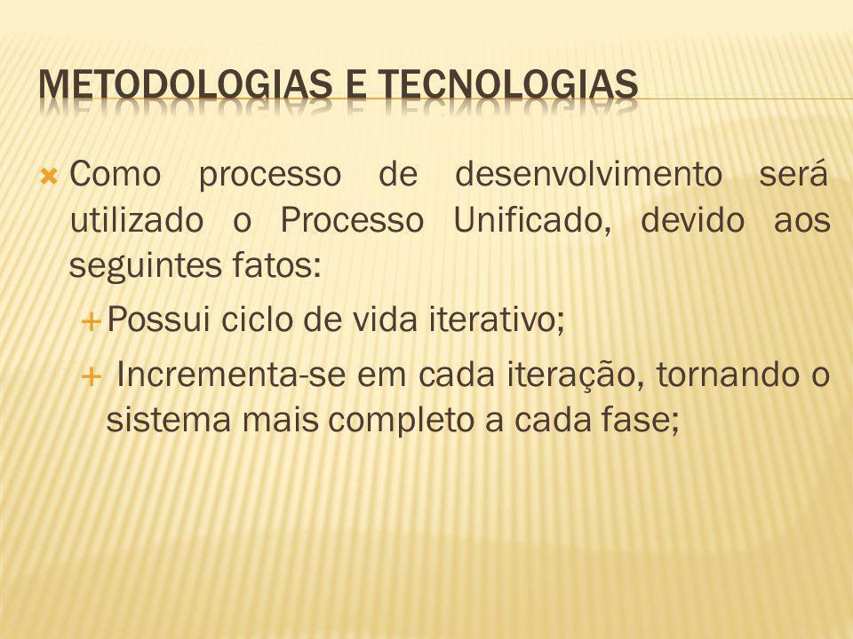 Como processo de desenvolvimento será utilizado o Processo Unificado, devido aos seguintes fatos: Possui ciclo de vida iterativo; Incrementa-se em cad