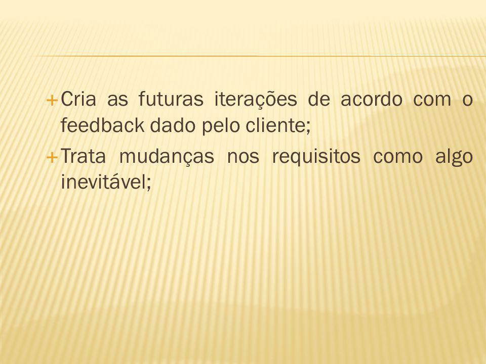 Cria as futuras iterações de acordo com o feedback dado pelo cliente; Trata mudanças nos requisitos como algo inevitável;