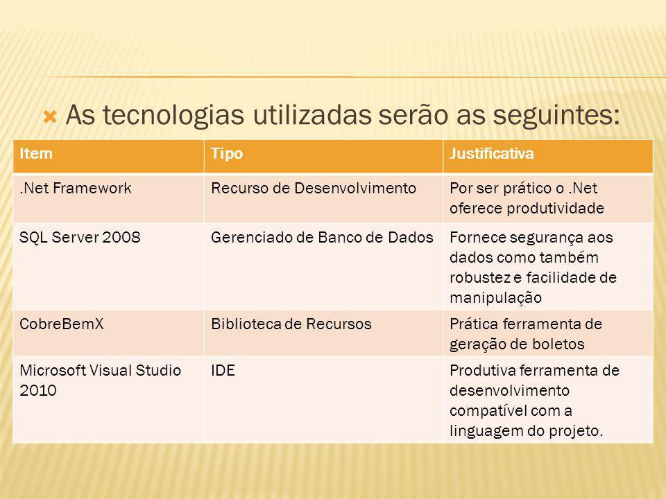 As tecnologias utilizadas serão as seguintes: ItemTipoJustificativa.Net FrameworkRecurso de DesenvolvimentoPor ser prático o.Net oferece produtividade