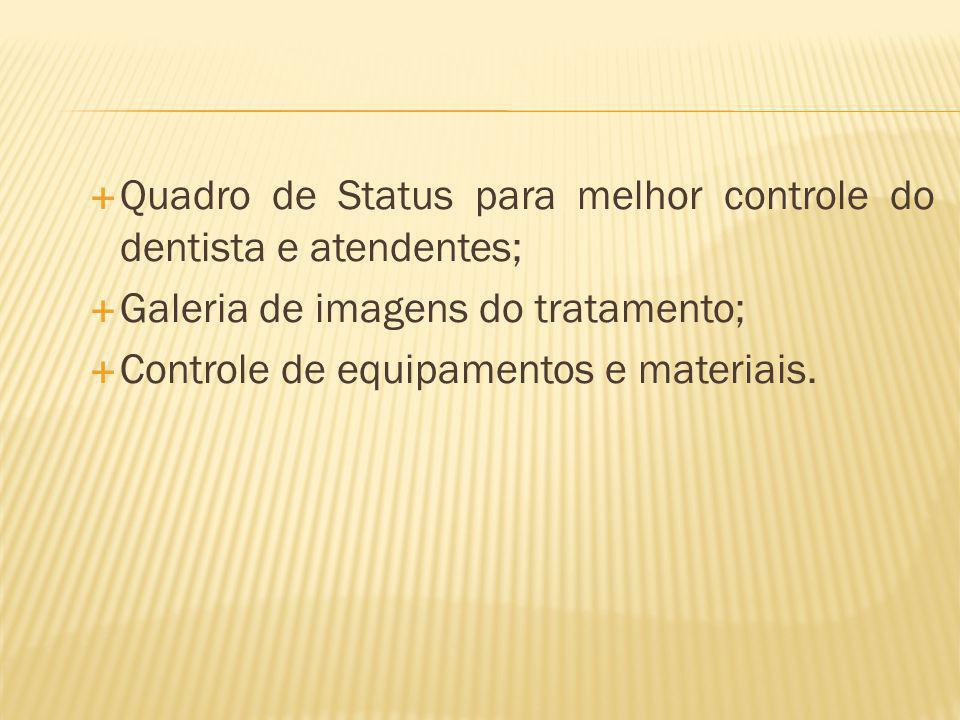 Quadro de Status para melhor controle do dentista e atendentes; Galeria de imagens do tratamento; Controle de equipamentos e materiais.