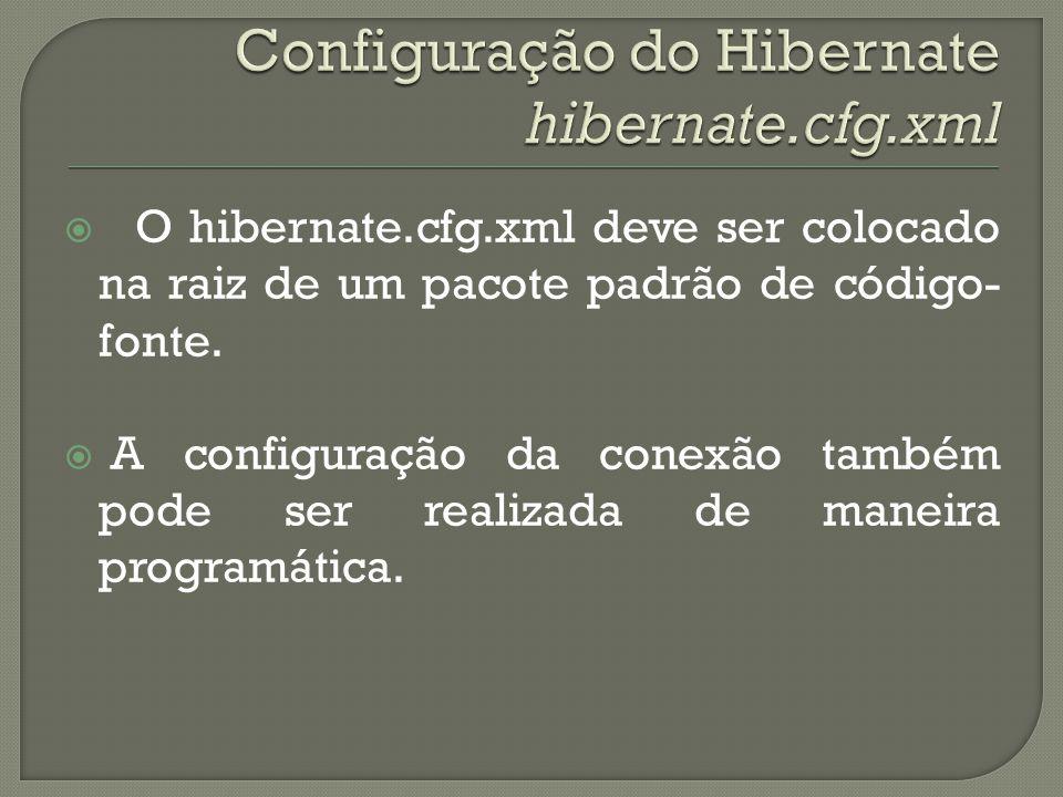 O hibernate.cfg.xml deve ser colocado na raiz de um pacote padrão de código- fonte. A configuração da conexão também pode ser realizada de maneira pro