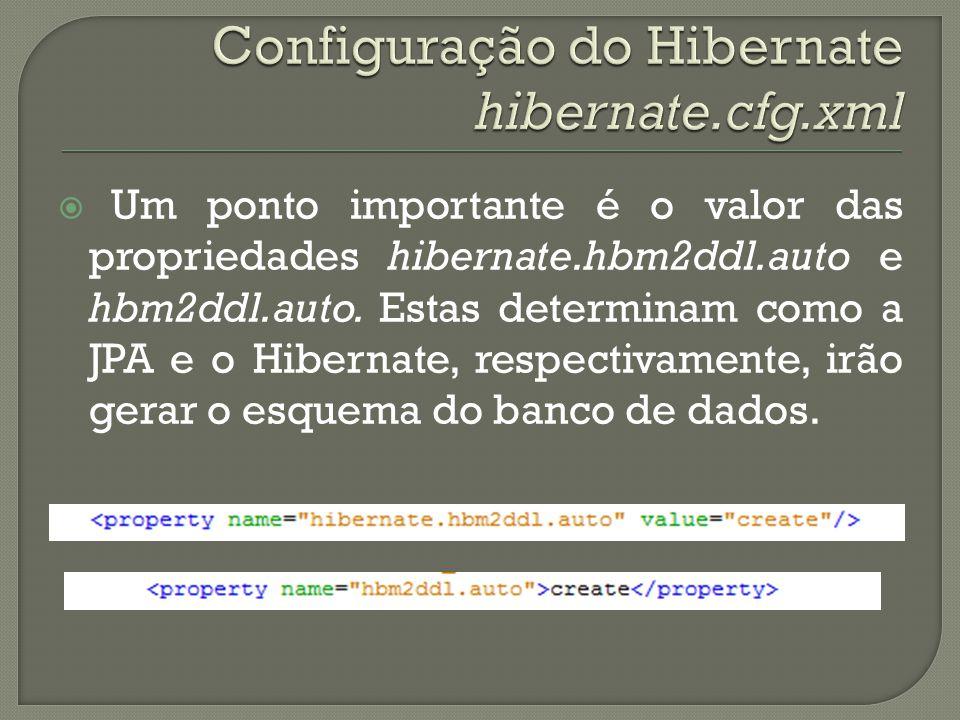Um ponto importante é o valor das propriedades hibernate.hbm2ddl.auto e hbm2ddl.auto. Estas determinam como a JPA e o Hibernate, respectivamente, irão