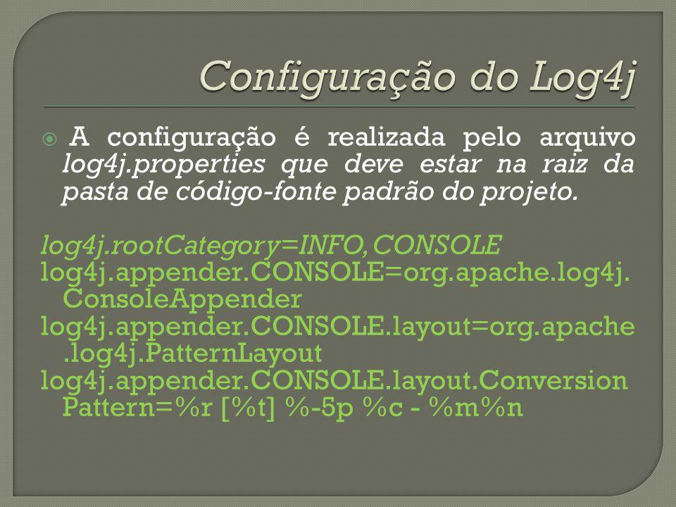 A configuração é realizada pelo arquivo log4j.properties que deve estar na raiz da pasta de código-fonte padrão do projeto. log4j.rootCategory=INFO, C