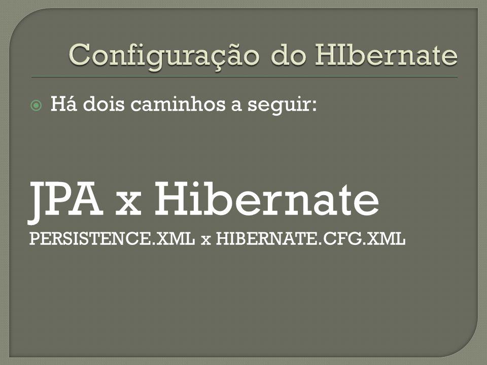 Há dois caminhos a seguir: JPA x Hibernate PERSISTENCE.XML x HIBERNATE.CFG.XML