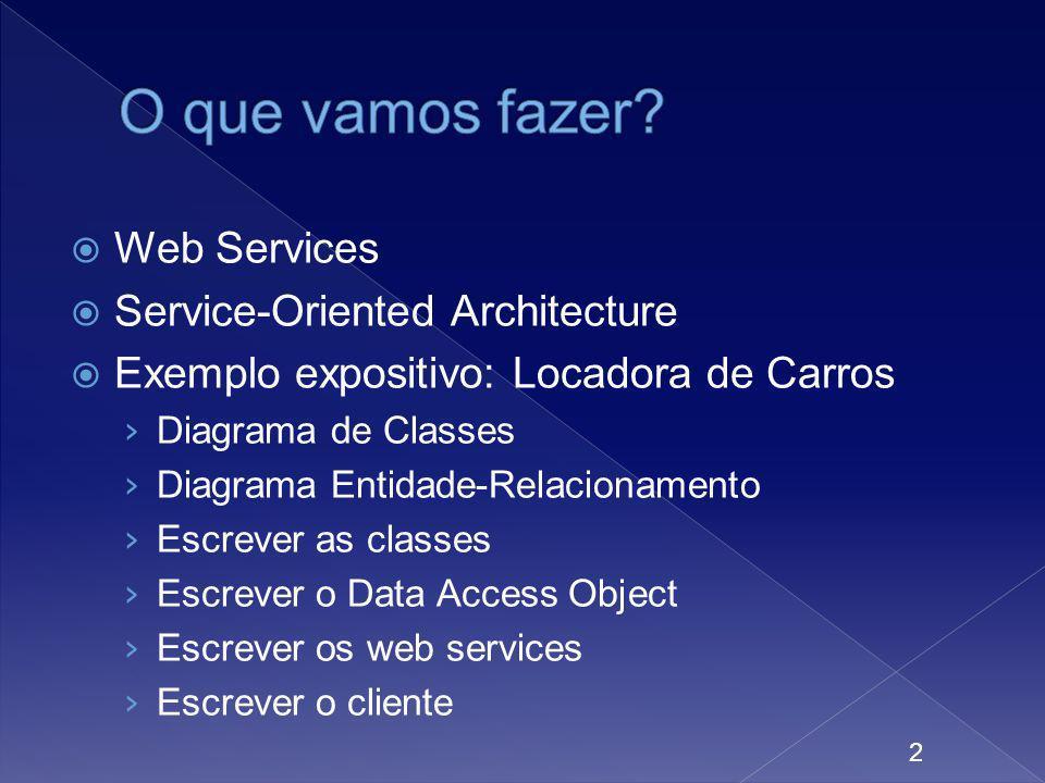 Web Services Service-Oriented Architecture Exemplo expositivo: Locadora de Carros Diagrama de Classes Diagrama Entidade-Relacionamento Escrever as cla