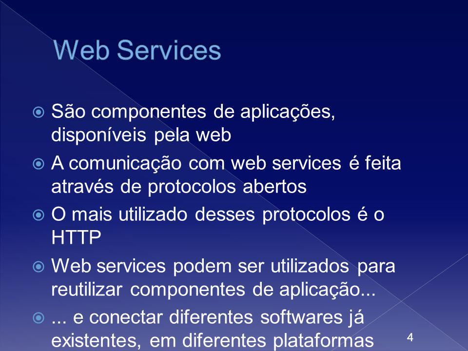 São componentes de aplicações, disponíveis pela web A comunicação com web services é feita através de protocolos abertos O mais utilizado desses proto