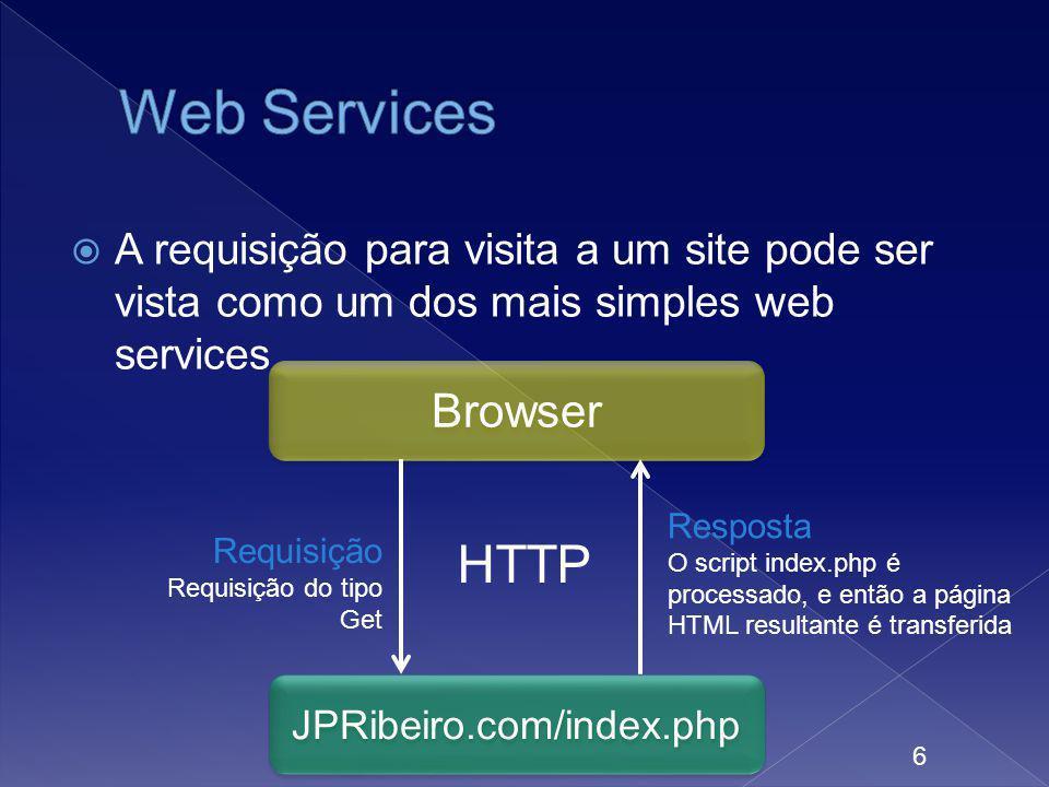 A requisição para visita a um site pode ser vista como um dos mais simples web services 6 Browser JPRibeiro.com/index.php Requisição Requisição do tip