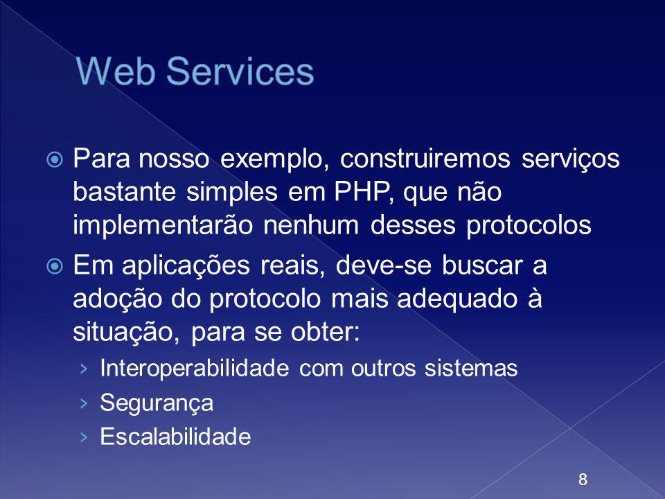 Para nosso exemplo, construiremos serviços bastante simples em PHP, que não implementarão nenhum desses protocolos Em aplicações reais, deve-se buscar