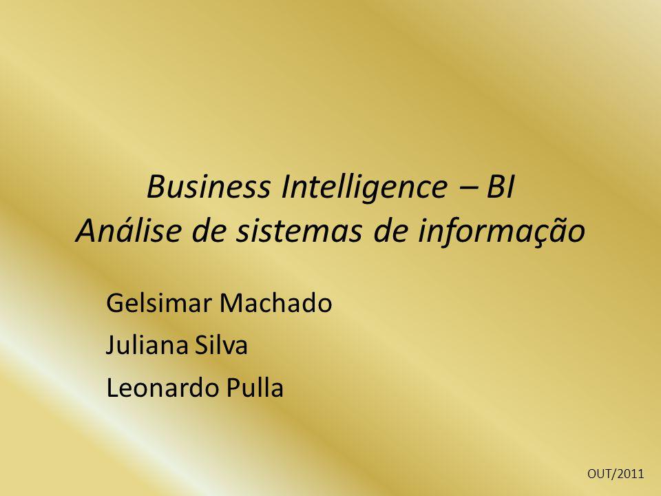 Business Intelligence – BI Análise de sistemas de informação Gelsimar Machado Juliana Silva Leonardo Pulla OUT/2011