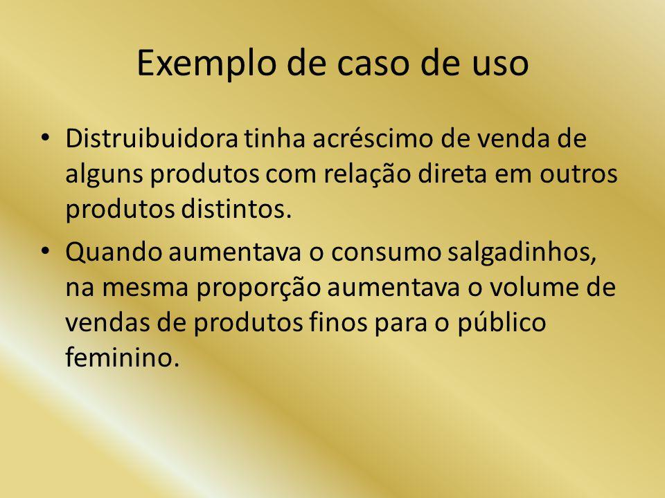 Exemplo de caso de uso Distruibuidora tinha acréscimo de venda de alguns produtos com relação direta em outros produtos distintos. Quando aumentava o