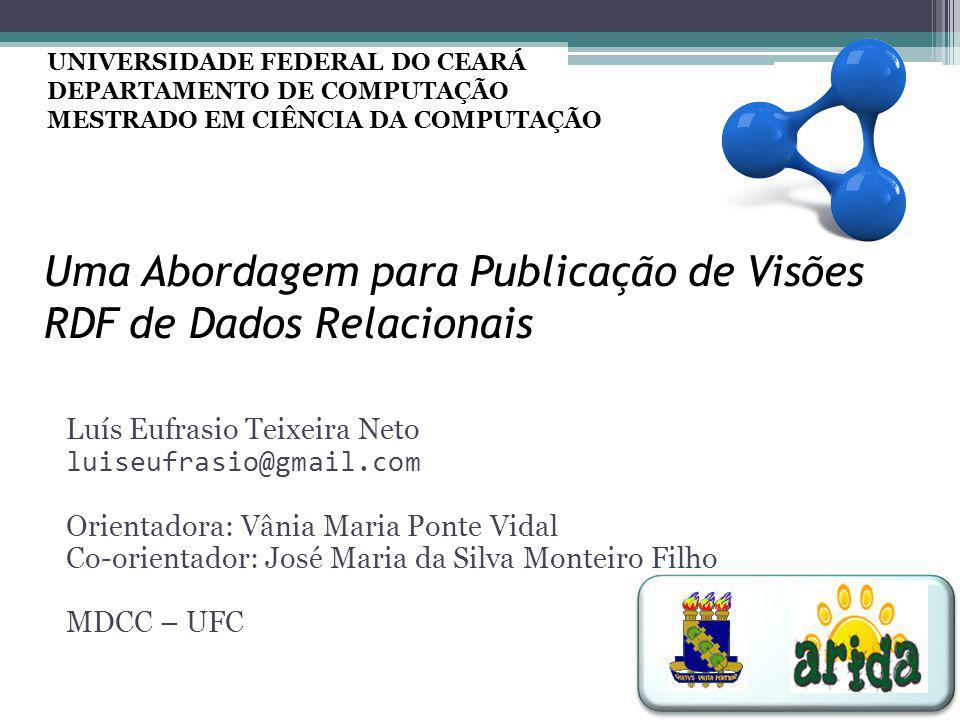 Uma Abordagem para Publicação de Visões RDF de Dados Relacionais Luís Eufrasio Teixeira Neto luiseufrasio@gmail.com Orientadora: Vânia Maria Ponte Vid