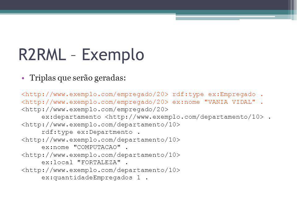 R2RML – Exemplo Triplas que serão geradas: rdf:type ex:Empregado. ex:nome