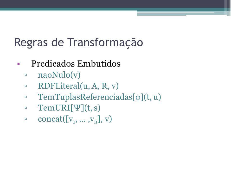 Regras de Transformação Predicados Embutidos naoNulo(v) RDFLiteral(u, A, R, v) TemTuplasReferenciadas[ ](t, u) TemURI[Ψ](t, s) concat([v 1,...,v n ],