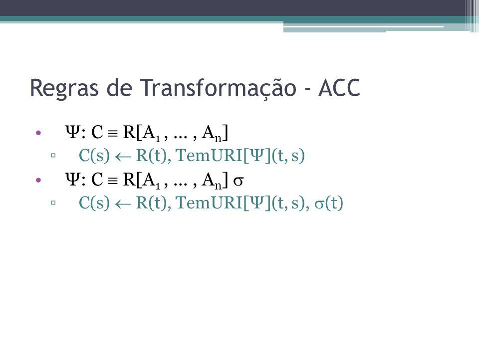 Regras de Transformação - ACC Ψ: C R[A 1,..., A n ] C(s) R(t), TemURI[Ψ](t, s) Ψ: C R[A 1,..., A n ] C(s) R(t), TemURI[Ψ](t, s), (t)