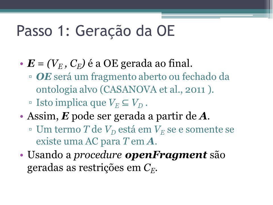 Passo 1: Geração da OE E = (V E, C E ) é a OE gerada ao final. OE será um fragmento aberto ou fechado da ontologia alvo (CASANOVA et al., 2011 ). Isto