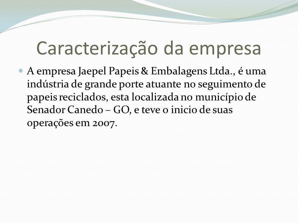 Caracterização da empresa A empresa Jaepel Papeis & Embalagens Ltda., é uma indústria de grande porte atuante no seguimento de papeis reciclados, esta