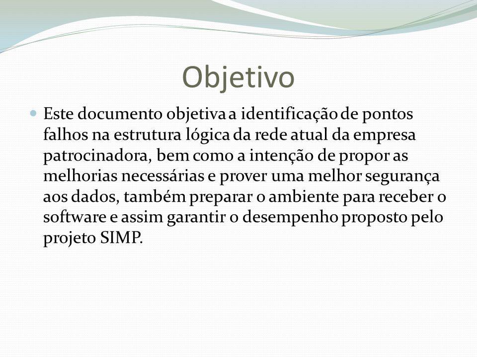 Objetivo Este documento objetiva a identificação de pontos falhos na estrutura lógica da rede atual da empresa patrocinadora, bem como a intenção de p