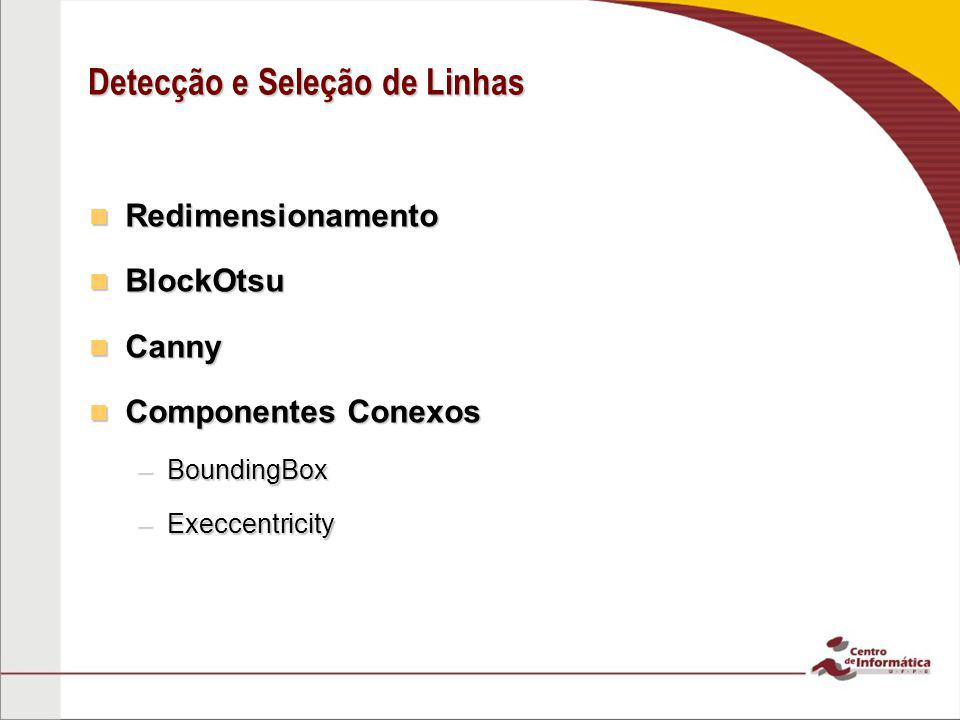 Redimensionamento Redimensionamento BlockOtsu BlockOtsu Canny Canny Componentes Conexos Componentes Conexos –BoundingBox –Execcentricity