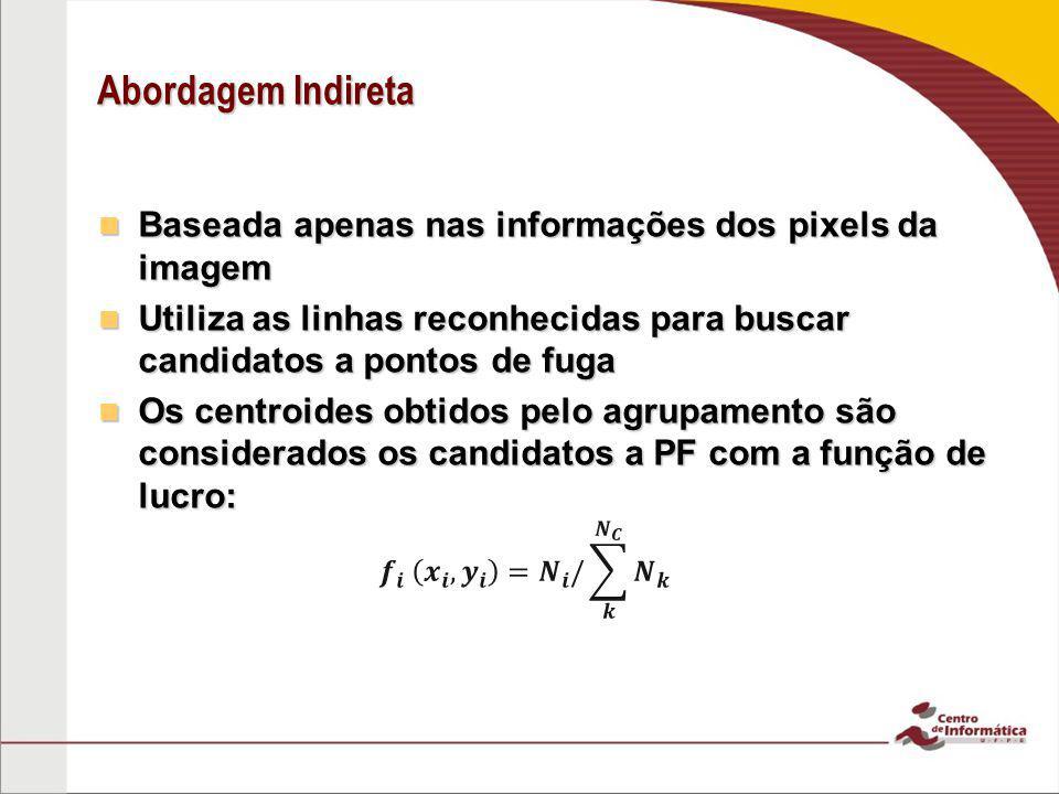 Abordagem Indireta Baseada apenas nas informações dos pixels da imagem Baseada apenas nas informações dos pixels da imagem Utiliza as linhas reconheci