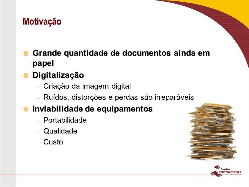 Motivação Grande quantidade de documentos ainda em papel Grande quantidade de documentos ainda em papel Digitalização Digitalização –Criação da imagem
