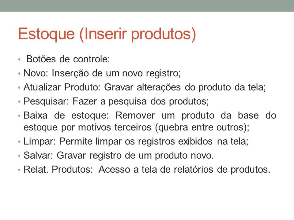 Estoque (Inserir produtos) Botões de controle: Novo: Inserção de um novo registro; Atualizar Produto: Gravar alterações do produto da tela; Pesquisar: