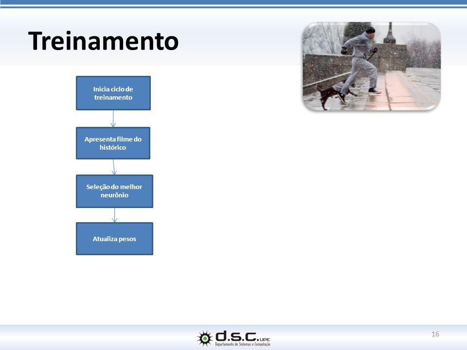 Treinamento 16 Apresenta filme do histórico Seleção do melhor neurônio Atualiza pesos Inicia ciclo de treinamento