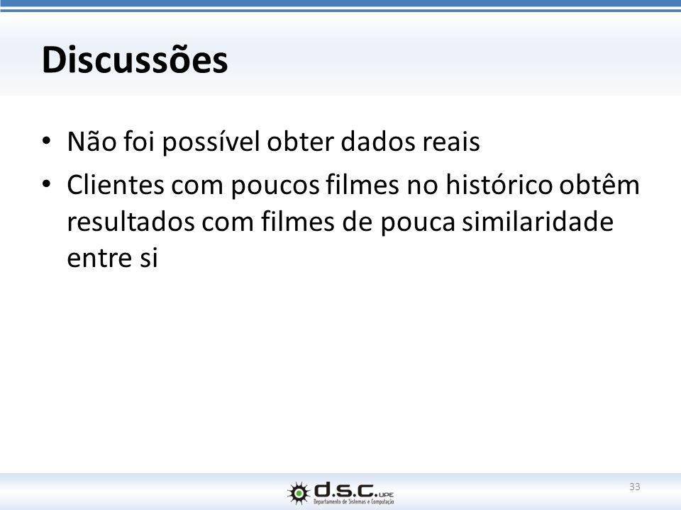 Discussões Não foi possível obter dados reais Clientes com poucos filmes no histórico obtêm resultados com filmes de pouca similaridade entre si 33