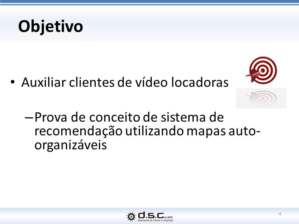 Objetivo Auxiliar clientes de vídeo locadoras – Prova de conceito de sistema de recomendação utilizando mapas auto- organizáveis 4