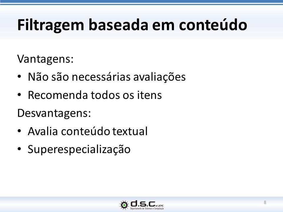 Filtragem baseada em conteúdo Vantagens: Não são necessárias avaliações Recomenda todos os itens Desvantagens: Avalia conteúdo textual Superespecializ