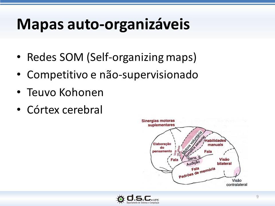 Mapas auto-organizáveis Redes SOM (Self-organizing maps) Competitivo e não-supervisionado Teuvo Kohonen Córtex cerebral 9