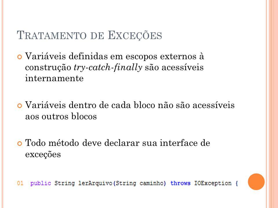 Variáveis definidas em escopos externos à construção try-catch-finally são acessíveis internamente Variáveis dentro de cada bloco não são acessíveis aos outros blocos Todo método deve declarar sua interface de exceções