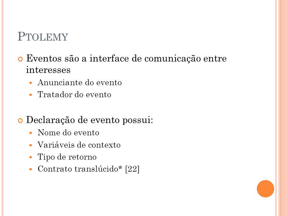 P TOLEMY Eventos são a interface de comunicação entre interesses Anunciante do evento Tratador do evento Declaração de evento possui: Nome do evento Variáveis de contexto Tipo de retorno Contrato translúcido* [22]