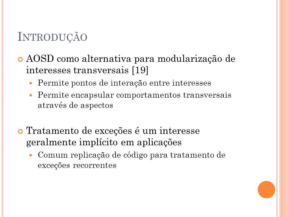 I NTRODUÇÃO AOSD como alternativa para modularização de interesses transversais [19] Permite pontos de interação entre interesses Permite encapsular c